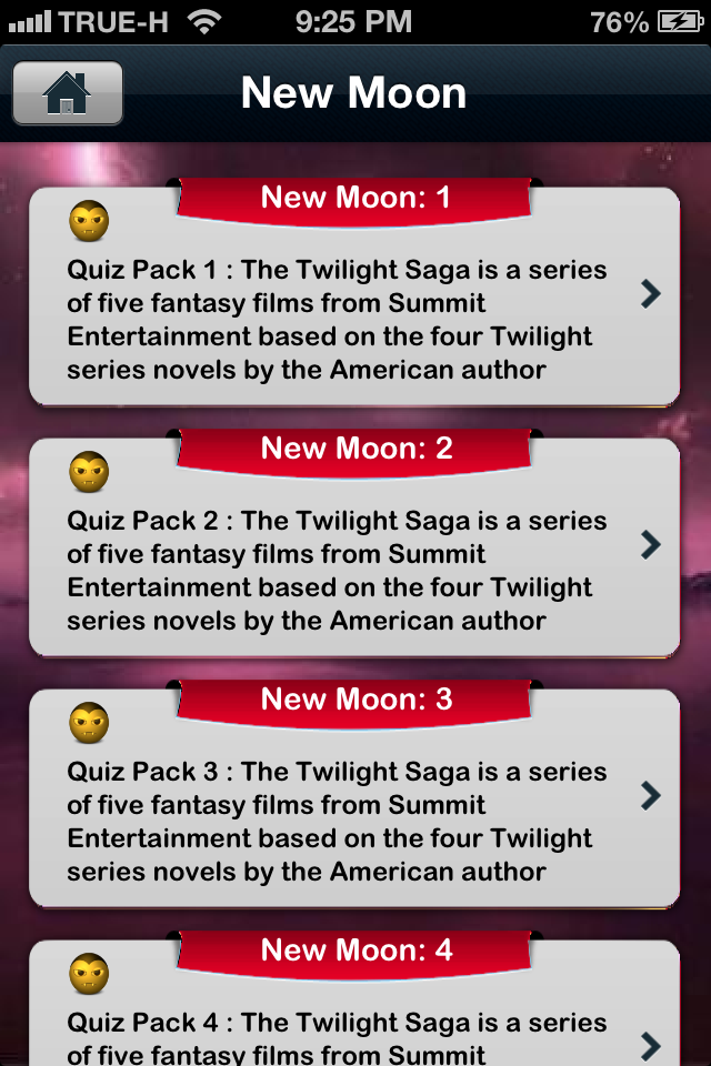 Screenshot iQuiz for Twilight Saga ( Trivia )